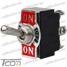 Тумблер KN3(B)-223А (ON)-OFF-(ON) 6-и контактный, 10A, 250 VAC, Tcom