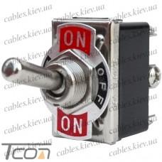 "Тумблер KN3(С)-203A (ON-OFF-ON) ""Tcom"", 6-и контактный, 10А, 250VAC"