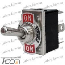 Тумблер KN3(С)-203Р (ON-OFF-ON) 6-и контактный, 10А, 250VAC, Tcom