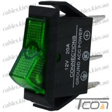 """Переключатель с подсветкой ASW-09D ON-OFF """"Tcom"""", 3-х контактный, 12V, 20А, зелёный"""