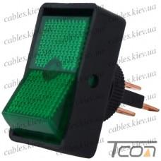 Переключатель с подсветкой ASW-11D ON-OFF 3-х контактный, 12V, 20А, зелёный, Tcom