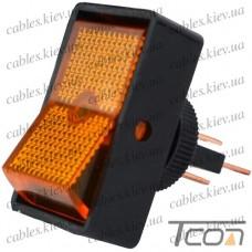 Переключатель с подсветкой ASW-11D ON-OFF 3-х контактный, 12V, 20А, жёлтый, Tcom