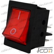 Переключатель с подсветкой IRS-201-3C3 ON-OFF 4-х контактный, 12V, 35А, красный, Tcom