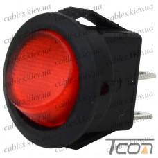 Переключатель mini круглый SMRS-101-2 ON-OFF 2-х контактный, 3A, 220V, красный, Tcom