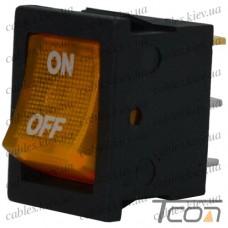 Переключатель с подсветкой MIRS-101-2 ON-OFF 3-х контактный, 6A, 220V, жёлтый, Tcom