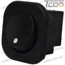 Переключатель круглый п/винт MRS-101-7С ON-OFF 2-х контактный, 6A, 220V, чёрный, Tcom