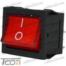 Переключатель широкий с подсветкой MIRS-201-4 ON-OFF 4-х контактный, 6A, 220V, красный, Tcom