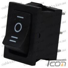 Переключатель KCD-1, ON-OFF-ON 3-х контактный, 6A, 220V, черный, Tcom