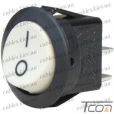 Переключатель круглый KCD-2, ON-OFF 2-х контактный, 6A, 220V, белый, Tcom