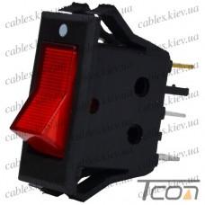 """Переключатель с подсветкой KCD-3, ON-OFF """"Tcom"""", 3-х контактный, 15A, 220V, красный"""