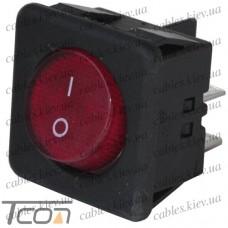 Переключатель с подсветкой, с круглой клавишей RK1-05, ON-OFF, 4-контактный, красный, Tcom