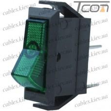 Переключатель узкий с подсветкой IRS-101-1С ON-OFF 2-х контактный, 15A, 220V, зелёный, Tcom