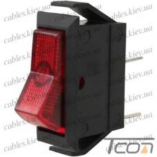 Переключатель узкий с подсветкой IRS-101-1С ON-OFF 3-х контактный, 15A, 220V, красный, Tcom