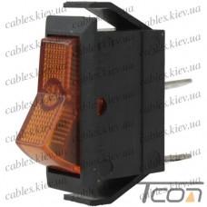 Переключатель узкий с подсветкой IRS-101-1С ON-OFF 3-х контактный, 15A, 220V, жёлтый, Tcom