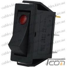 Переключатель узкий с подсветкой IRS-101E-1C ON-OFF 3-х контактный, 15A, 220V, красный, Tcom