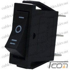 Переключатель узкий KCD-3, ON-OFF-ON 3-х контактный, 15А, 220V, чёрный, Tcom
