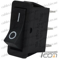 Переключатель узкий RS-102-16C ON-ON 3-х контактный, 15A, 220V, черный, Tcom