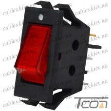 Переключатель узкий с подсветкой IRS-1-2A ON-OFF 3-х контактный, 10A, 220V, красный, Tcom