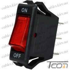 Переключатель узкий с подсветкой IRS-1-7A ON-OFF 3-х контактный, 10A, 220V, красный, Tcom