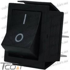Переключатель широкий с подсветкой IRS-201-1С (ON-OFF) 4-х контактный, 15A, 220V, чёрный, Tcom