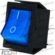 Переключатель широкий с подсветкой IRS-201-1С (ON-OFF) 4-х контактный, 15A, 220V, синий, Tcom