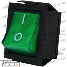 Переключатель широкий с подсветкой IRS-201-1С (ON-OFF) 4-х контактный, 15A, 220V, зелёный, Tcom