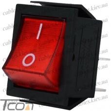 Переключатель широкий с подсветкой IRS-201-1С (ON-OFF) 4-х контактный, 15A, 220V, красный, Tcom