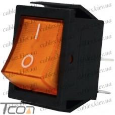 Переключатель широкий с подсветкой IRS-201-1С (ON-OFF) 4-х контактный, 15A, 220V, жёлтый, Tcom