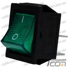 Переключатель широкий с подсветкой KCD-4, ON-OFF 4-х контактный, 15A, 220V, зелёный, Tcom