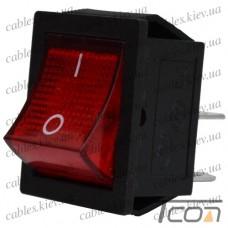 Переключатель широкий с подсветкой KCD-4, ON-OFF 4-х контактный, 15A, 220V, красный, Tcom