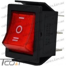 Переключатель широкий с подсветкой IRS-203-1C ON-OFF-ON 6-и контактный, 15A, 220V, красный, Tcom