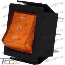 Переключатель широкий с подсветкой IRS-203-1C ON-OFF-ON 6-и контактный, 15A, 220V, жёлтый, Tcom