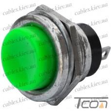Кнопка большая PBS-26B без фиксации OFF-(ON) 2-х контактная, 2А, 250V, зелёная, Tcom