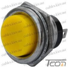 Кнопка большая PBS-26B без фиксации OFF-(ON) 2-х контактная, 2А, 250V, жёлтая, Tcom