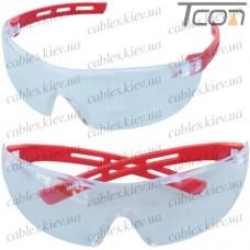 Очки защитные АСПЕКТ прозрачные (красные дужки)