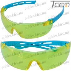 Очки защитные АСПЕКТ янтарные (синие дужки)