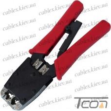 """Инструмент обжимной (НY-500R) """"Tcom"""" для 6р4с, 8p8c разъёмов, с трещёткой"""