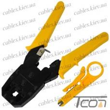 Инструмент обжимной (НТ-315) для 4р4с, 6р4с, 8р8с разъёмов + зачистка, Tcom