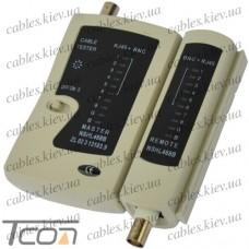 Кабельный тестер витой пары + BNC (NS-468), Tcom