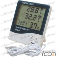 Цифровой термогигрометр HTC-2 (термометр + влажность + часы)
