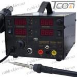 Паяльная станция цифровая с феном HandsKit 909D+ (EXtools 909D+) (паяльник 50W, 200-480°C, фен 450W, 100-450°C)