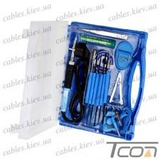 Набор ZD-921H (паяльник, подставка, припой, пинцет, зажим, инструменты 6шт), Zhongdi