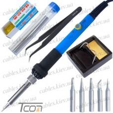Набор HandsKit 936-S (паяльник с регулировкой + подставка + 5наконечников + припой + пинцет + флюс)
