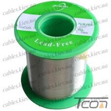 Припой оловянный (бессвинцовый) ПОС-99.3  диам.-1мм, 250гр.катушка, Jufeng