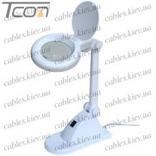 Лупа-лампа настольная 8092, светодиодная подсветка (30 SMD), 3 +12-и кратное увеличение, диам.-90мм, Zhongdi