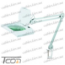 """Лупа-лампа """"Zhongdi"""" на струбцине, люминисцентная подсветка 2xPL9W, 5-и кратное увеличение, диам.-190x157мм"""