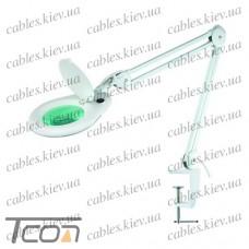 """Лупа-лампа """"Zhongdi"""" на струбцине, люминесцентная подсветка T5 22W, 5-и кратное увеличение, диам.-130мм"""
