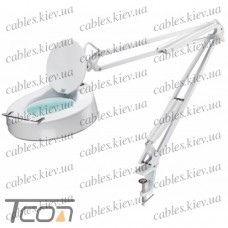 Лупа-лампа на струбцине 8064D-1CP, люминисцентная подсветка Т9 22W, 3 диоптрии, диам.-130мм, Zhongdi
