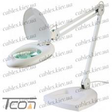 """Лампа-лупа """"Zhongdi"""" с LED посветкой, настольная, круглая, 5-и кратное увеличение, 7W, диам.-130мм, белая"""