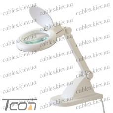 """Лупа-лампа """"Zhongdi"""" с LED подсветкой, настольная, круглая, 3+8-и кратное увеличение, 3W, диам.-90мм, белая"""